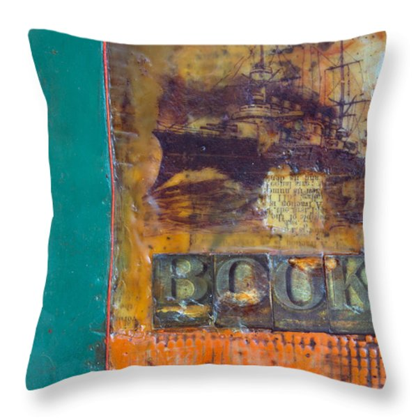 Book Cover Encaustic Throw Pillow by Bellesouth Studio