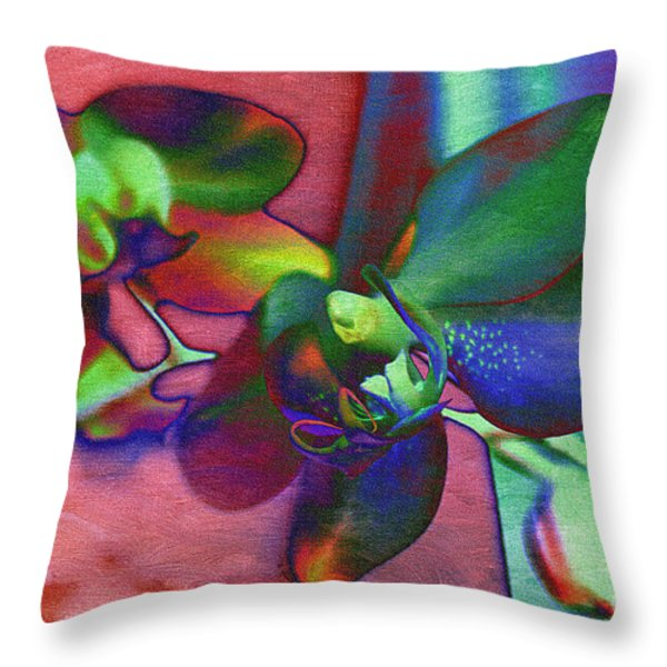 Bold Orchids Throw Pillow by Janice Rae Pariza