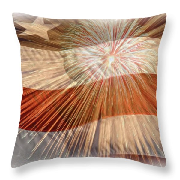 Bombs Bursting In Air Throw Pillow by Heidi Smith