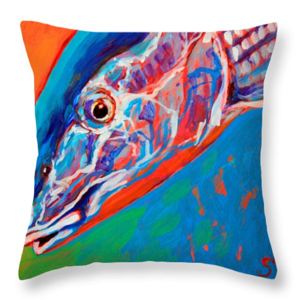 Bonefish Closeup Throw Pillow by Mike Savlen