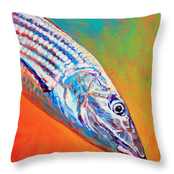 Bonefish Portrait Throw Pillow by Mike Savlen