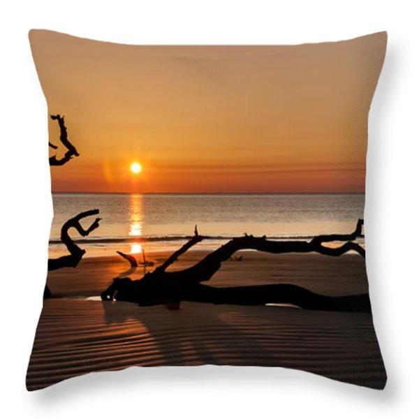Bones Beach Sunrise Throw Pillow by Debra and Dave Vanderlaan