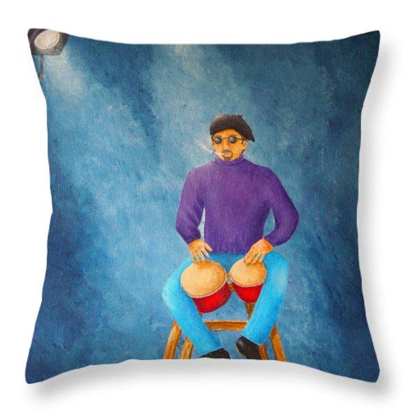 Bongo Man Throw Pillow by Pamela Allegretto