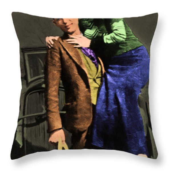 Bonnie and Clyde 20130515 Throw Pillow by Wingsdomain Art and Photography