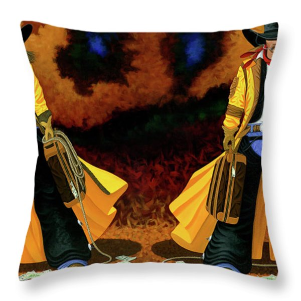 Bonnie And Clyde Throw Pillow by Lance Headlee