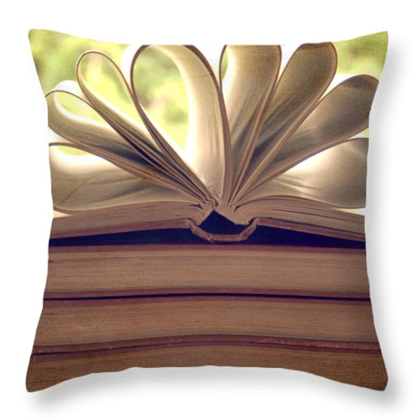 Book Flower Throw Pillow by Nomad Art And  Design