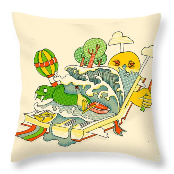 Book Is The Window Of The World Throw Pillow by Budi Satria Kwan