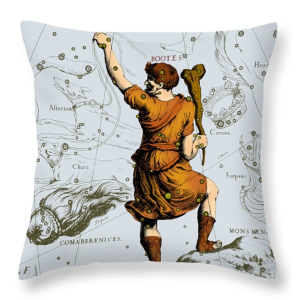 Bootes Constellation, 1687 Throw Pillow by Science Source