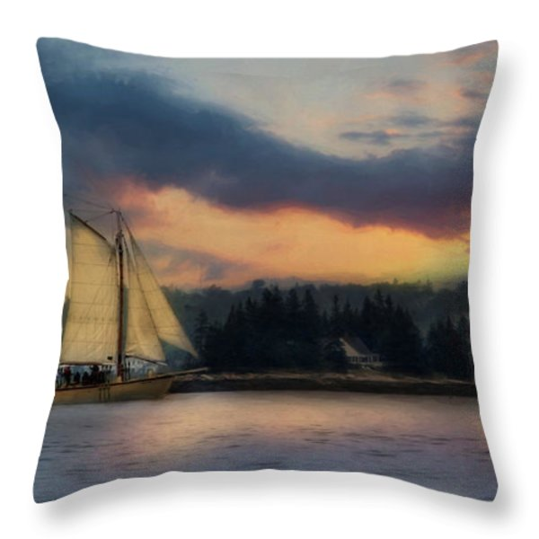 Boothbay Harbor Schooner Throw Pillow by Lori Deiter