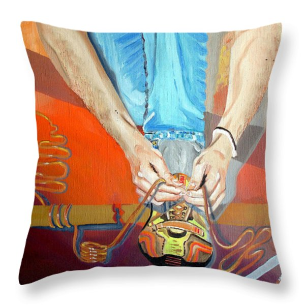 Bootlace Throw Pillow by Daniel Janda