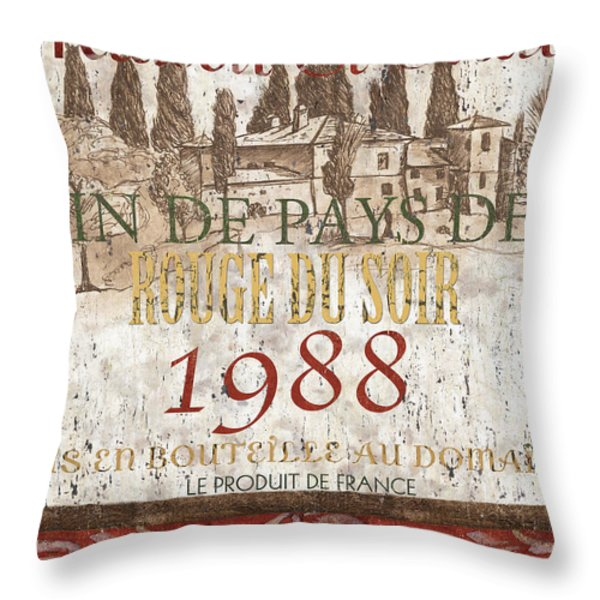 Bordeaux Blanc Label 1 Throw Pillow by Debbie DeWitt
