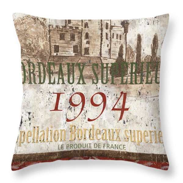 Bordeaux Blanc Label 2 Throw Pillow by Debbie DeWitt