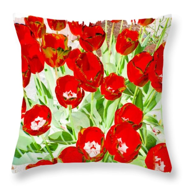 Bordered Red Tulips Throw Pillow by Will Borden