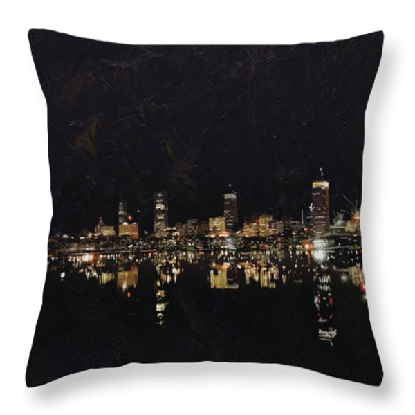 Boston City Skyline 2 Throw Pillow by Corporate Art Task Force