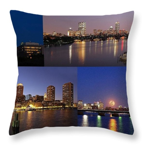Boston City Skyline Throw Pillow by Juergen Roth