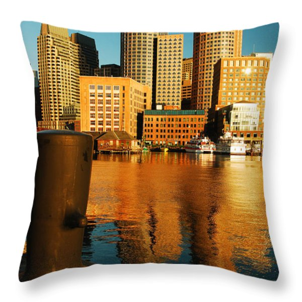 Boston Harbor Throw Pillow by James Kirkikis