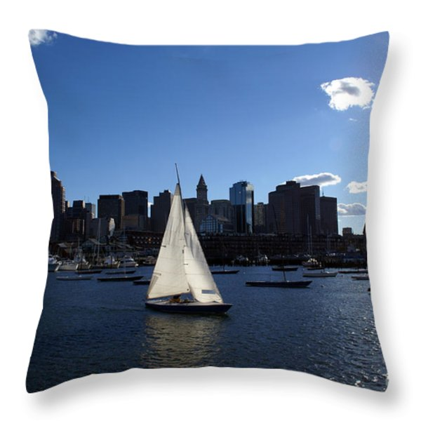 Boston Harbor Throw Pillow by Olivier Le Queinec