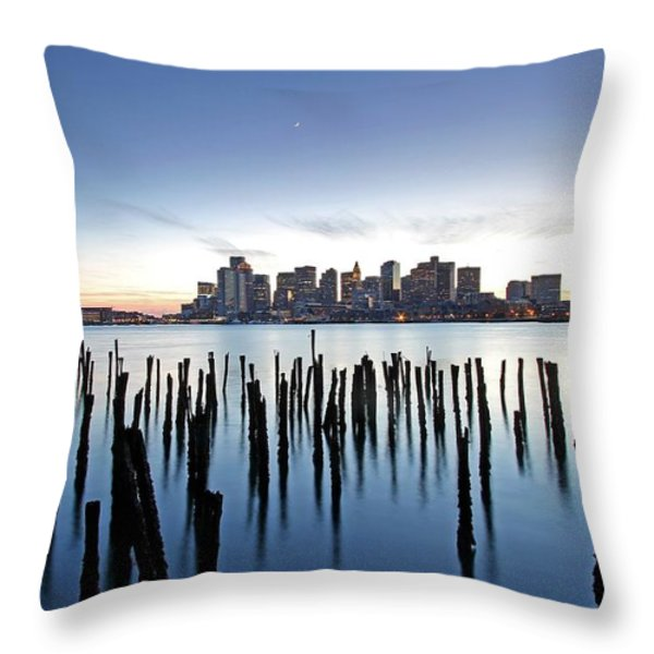 Boston Harbor Skyline with ICA Throw Pillow by Juergen Roth