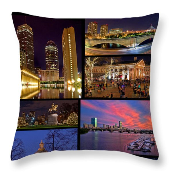 Boston Nights Collage Throw Pillow by Joann Vitali