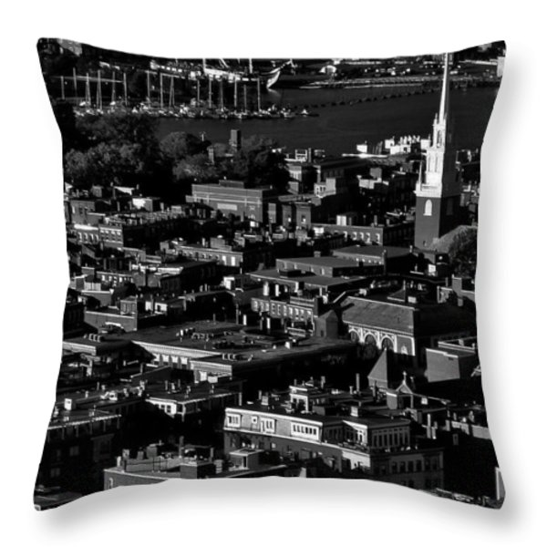 Boston Old North Church Black And White Throw Pillow by Benjamin Yeager