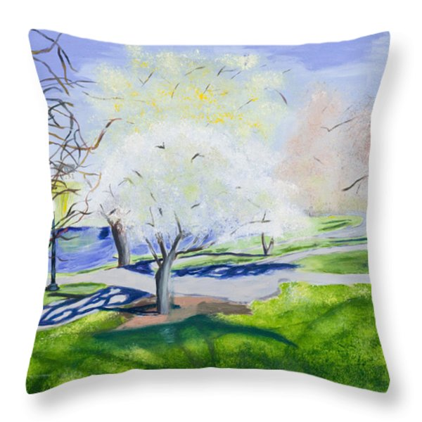 Boston Public Garden Throw Pillow by Carmela Cattuti