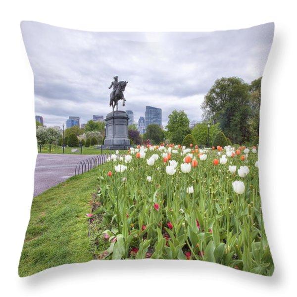 Boston Public Garden Throw Pillow by Eric Gendron