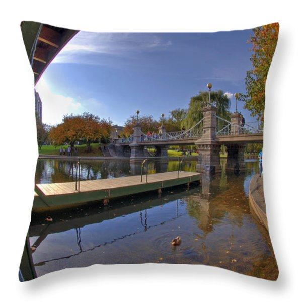 Boston Public Garden Throw Pillow by Joann Vitali