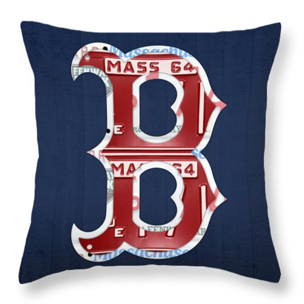 Boston Red Sox Logo Letter B Baseball Team Vintage License Plate Art Throw Pillow by Design Turnpike