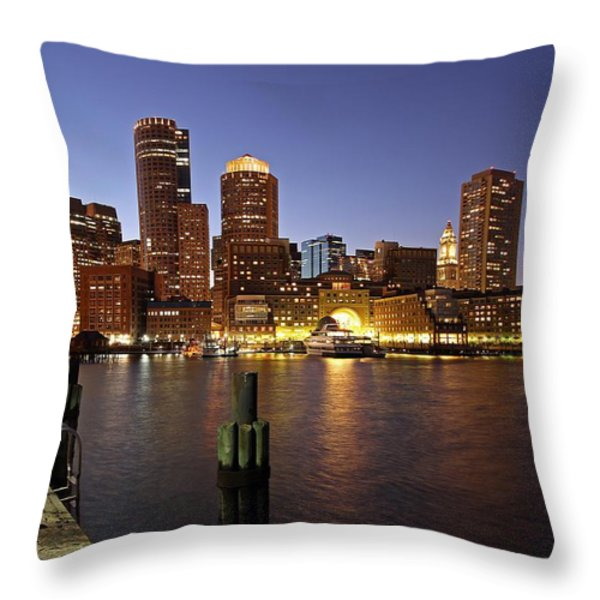 Boston Skyline And Fan Pier Throw Pillow by Juergen Roth