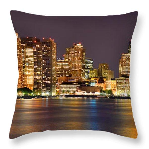 Boston Skyline at NIGHT Panorama Throw Pillow by Jon Holiday