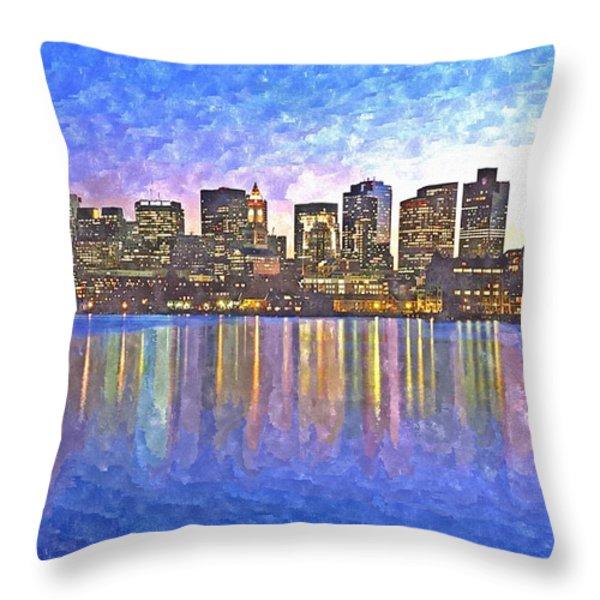 Boston skyline by night Throw Pillow by Rachel Niedermayer