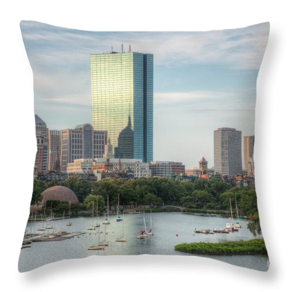 Boston Skyline I Throw Pillow by Clarence Holmes