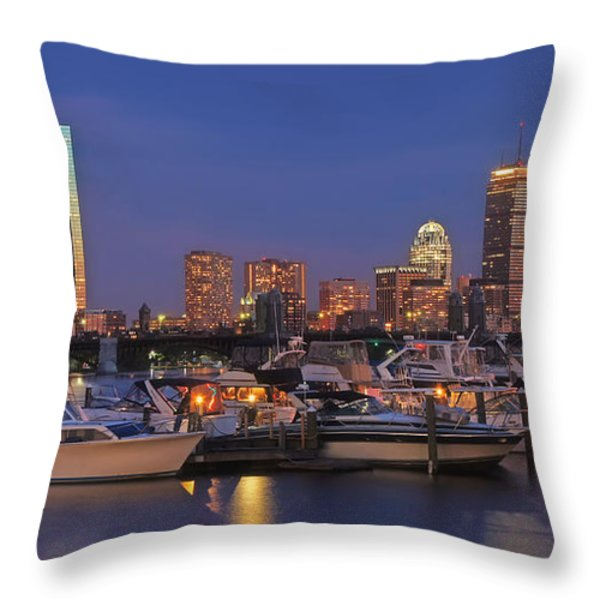 Boston Skyline In Blue And Gold Throw Pillow by Joann Vitali