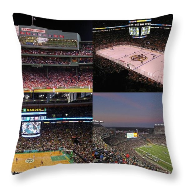 Boston Sports Teams And Fans Throw Pillow by Juergen Roth