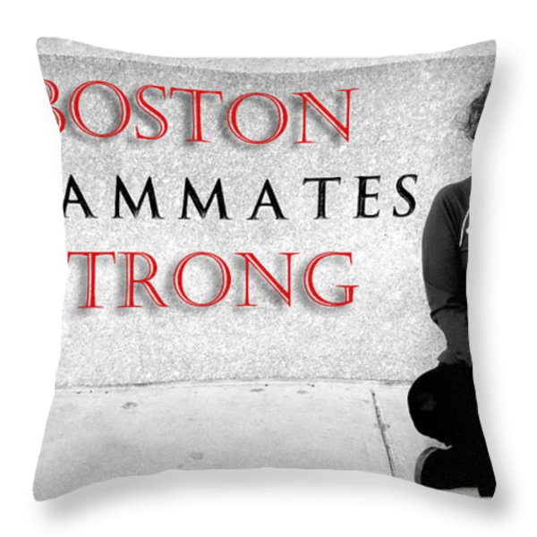 Boston Strong Throw Pillow by Greg Fortier