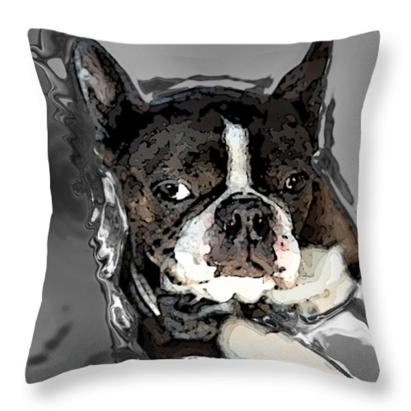 Boston Terrier.  Channeling Peter Lorre Throw Pillow by Peter Mix