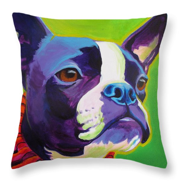 Boston Terrier - Ridley Throw Pillow by Alicia VanNoy Call