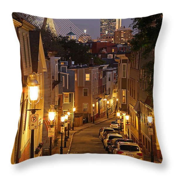 Boston View From Charlestown Throw Pillow by Juergen Roth