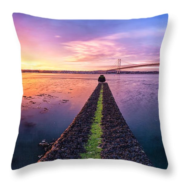 Both Forth Bridges Throw Pillow by John Farnan