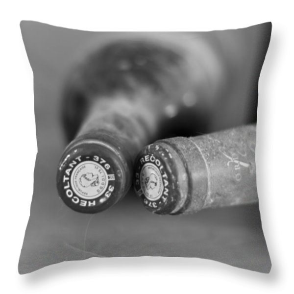 Bottle Necks in black and white Throw Pillow by Nomad Art And  Design
