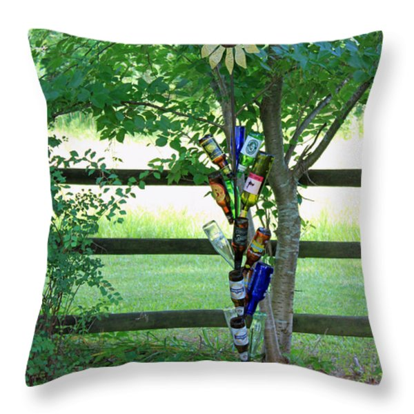 Bottle Tree Throw Pillow by Suzanne Gaff