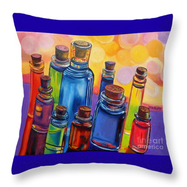 Bottled Rainbow Throw Pillow by Julie Brugh Riffey