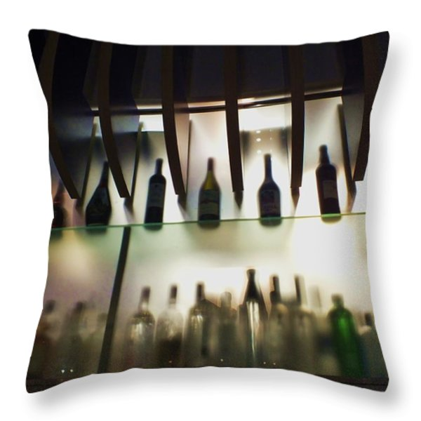 Bottles At The Bar Throw Pillow by Anna Villarreal Garbis