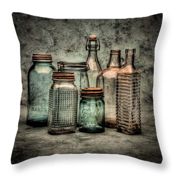 Bottles II Throw Pillow by Timothy Bischoff
