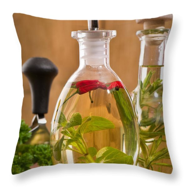 Bottles Of Olive Oil Throw Pillow by Amanda And Christopher Elwell