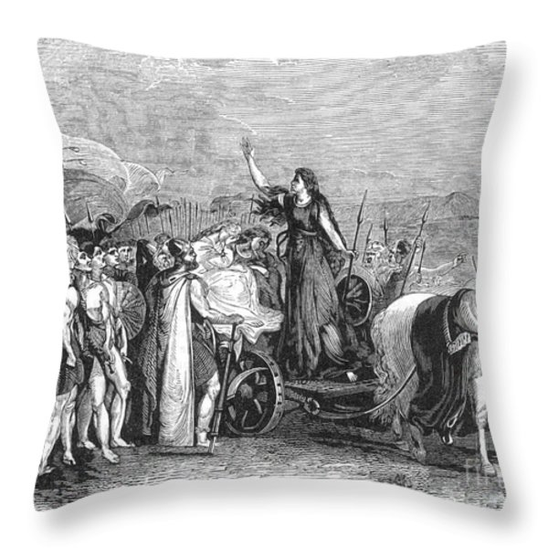 Boudica Leading British Tribes 60 Ad Throw Pillow by Photo Researchers