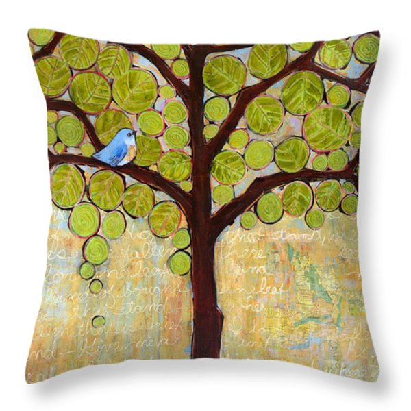Boughs in Leaf Tree Throw Pillow by Blenda Studio