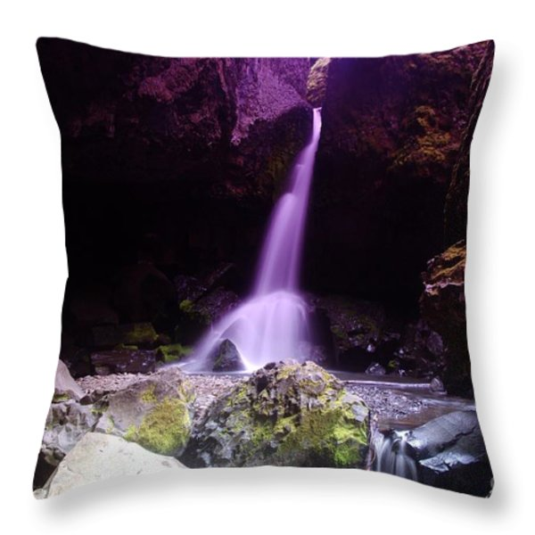 Boulder Cave Falls Throw Pillow by Jeff  Swan