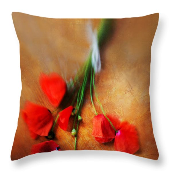 Bouquet of red poppies and white ribbon Throw Pillow by Jaroslaw Blaminsky