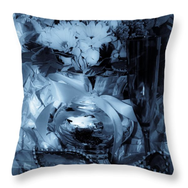 Bouquet And Beads Throw Pillow by DigiArt Diaries by Vicky B Fuller